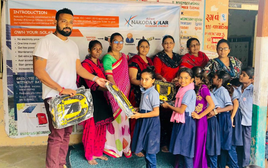 Distributing schools bags at Government School